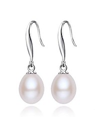 cheap -Freshwater Pearl Classic Earrings - Pearl, S925 Sterling Silver Blessed Simple Style, Fashion, Elegant White / Blushing Pink / Amethyst For Event / Party Daily Women's / 1 Pair