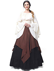 cheap -Princess Cosplay Retro Vintage Medieval Renaissance Dress Women's Costume Brown / Red black / White Vintage Cosplay Long Sleeve Long Length