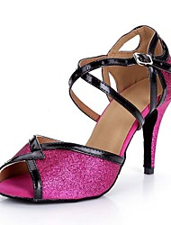 cheap -Women's Dance Shoes Synthetics Latin Shoes Glitter Sandal / Heel Slim High Heel Fuchsia / Performance / Leather