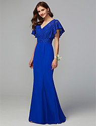 cheap -Sheath / Column V Neck Floor Length Chiffon / Lace Bridesmaid Dress with Lace