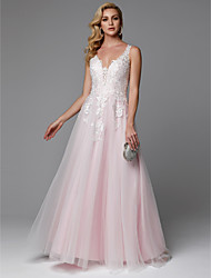 cheap -A-Line Floral Pink Prom Formal Evening Dress V Neck Sleeveless Floor Length Lace Tulle with Buttons Appliques 2020