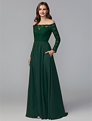 cheap -A-Line Off Shoulder Floor Length Chiffon / Lace Bridesmaid Dress with Lace