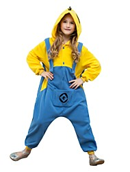 cheap -Kigurumi Pajamas Cartoon Mini Yellow Men Onesie Pajamas Polar Fleece Yellow+Blue Cosplay For Boys and Girls Animal Sleepwear Cartoon Festival / Holiday Costumes