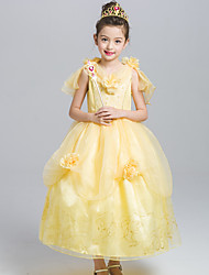 cheap -Belle Cosplay Costume Flower Girl Dress Kid's Girls' A-Line Slip Dresses Mesh Christmas Halloween Carnival Festival / Holiday Tulle Lace Yellow / Pink Carnival Costumes Lace / Cotton