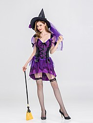 abordables -Déguisement Halloween Femme Sorcière Halloween Noël Noël Halloween Carnaval Violet Costumes Carnaval / Chapeau
