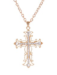 cheap -Women's Pendant Necklace Hollow Out Cross Ladies Stylish Classic Rhinestone Alloy Gold 70 cm Necklace Jewelry 1pc For Daily