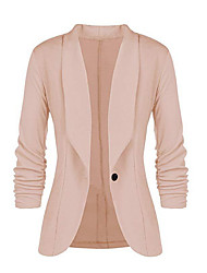 cheap -Women's Daily Spring &  Fall Regular Blazer, Solid Colored Shirt Collar Long Sleeve Polyester Black / Wine / Yellow