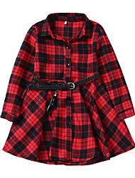 cheap -Kids Girls' Vintage Plaid Long Sleeve Dress Black