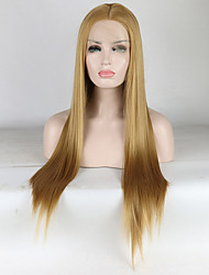 cheap -Synthetic Lace Front Wig Straight Middle Part Lace Front Wig Blonde Long Light golden Synthetic Hair 18-26 inch Women's Adjustable Lace Heat Resistant Blonde