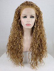 cheap -Synthetic Lace Front Wig Curly Free Part Lace Front Wig Blonde Long Light golden Synthetic Hair 18-26 inch Women's Adjustable Lace Heat Resistant Blonde