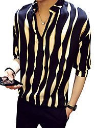 cheap -Men's Party Daily Club Shirt - Striped Standing Collar Black / Spring / Summer