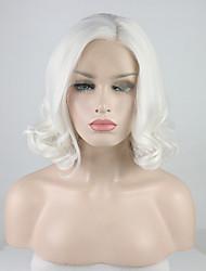Недорогие -Синтетические кружевные передние парики Кудрявый Свободная часть Лента спереди Парик Короткие Кремово-белые Искусственные волосы 12-16 дюймовый Жен. Регулируется Кружева Жаропрочная Белый