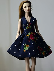 cheap -Doll Dress Dresses For Barbiedoll Floral Flower / Floral Floral Botanical Blue Black Cloth Cotton Cloth Non-woven Dress For Girl's Doll Toy