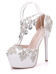cheap -Women's PU(Polyurethane) Spring & Summer Sweet Wedding Shoes Platform Round Toe Rhinestone / Buckle / Tassel White