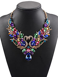 cheap -Women's Statement Necklace Bib necklace Swan Animal Rainbow Statement Ladies Luxury Bohemian Synthetic Gemstones Rhinestone Alloy Rainbow White Red Red Necklace & Earrings Colorful Necklace & Earrings