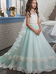 cheap -Ball Gown Sweep / Brush Train Flower Girl Dress - Polyester Sleeveless Jewel Neck with Appliques / Bow(s) / Lace