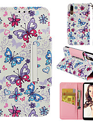 cheap -Case For Huawei Huawei P20 Wallet / Card Holder / Flip Back Cover Butterfly Hard PU Leather