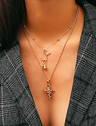 cheap -Women's Layered Necklace Long Necklace Classic Elegant Casual / Sporty Sweet Copper Alloy Gold Silver 45 cm Necklace Jewelry 1pc For Street Club