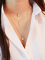 cheap -Women's Layered Necklace Classic Dangling Trendy Boho Copper Alloy Gold 45 cm Necklace Jewelry 1pc For Date Work