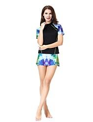 cheap -Women's Basic Strap Black Purple Army Green Skirt Tankini Swimwear - Color Block XL XXL XXXL Black