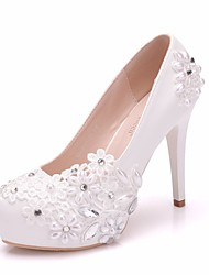 cheap -Women's PU(Polyurethane) Spring &  Fall Sweet Wedding Shoes Platform Round Toe Imitation Pearl / Sparkling Glitter White