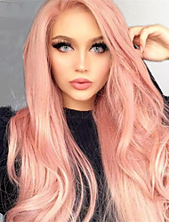 cheap -Virgin Human Hair Full Lace Wig Deep Parting Kardashian style Brazilian Hair Straight Pink colorful Wig 130% Density 12-24 inch with Baby Hair 100% Virgin with Clip With Bleached Knots Women's Medium