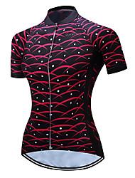 Недорогие -TELEYI Жен. С короткими рукавами Велокофты Черный / красный Большие размеры Велоспорт Джерси Верхняя часть Дышащий Влагоотводящие Быстровысыхающий Виды спорта Полиэстер / Эластичная / SBS молнии