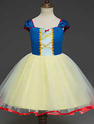 cheap -Snow White Princess Cosplay Costume Flower Girl Dress Kid's Girls' A-Line Slip Dresses Christmas Halloween Carnival Festival / Holiday Tulle Cotton Yellow Carnival Costumes Princess