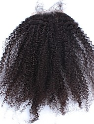 cheap -Dolago Mongolian Hair 4x4 Closure Curly Free Part / Middle Part / 3 Part French Lace Remy Human Hair / Human Hair Women's with Baby Hair / 100% Hand Tied / Lace Closure