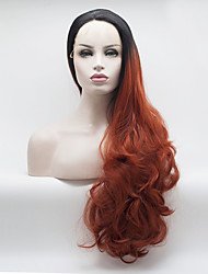cheap -Synthetic Lace Front Wig Curly Free Part Lace Front Wig Ombre Long Black / Red Synthetic Hair 18-26 inch Women's Adjustable Heat Resistant Elastic Ombre