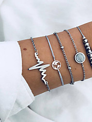 cheap -5pcs Women's Chain Bracelet Charm Bracelet Pendant Bracelet Retro Beads Maps Sweet Heart Heart Rate Ladies Fashion Hip-Hop Boho Resin Bracelet Jewelry Silver For Birthday Daily Going out Bar
