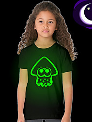 Недорогие -Дети Девочки Классический Однотонный С короткими рукавами Обычный Полиэстер Футболка Черный