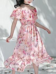 cheap -Kids Girls' Sweet Boho Daily Beach Floral Ruffle Print Sleeveless Dress Blushing Pink