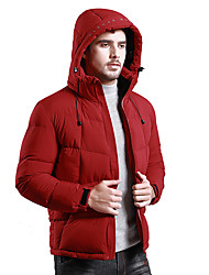 cheap -Men's Padded Hiking jacket Winter Outdoor Thermal / Warm Windproof UV Resistant Breathable Down Jacket Top Single Slider Camping / Hiking Casual Outdoor Exercise Black / Burgundy / Blue / Grey