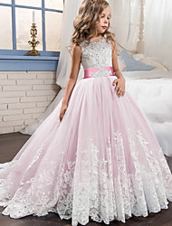 cheap -Princess Sweep / Brush Train / Long Length Flower Girl Dress - Lace / Tulle Sleeveless Jewel Neck with Appliques / Belt