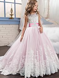 abordables -Princesse Traîne Brosse / Long Robe de Demoiselle d'Honneur Fille - Dentelle / Tulle Sans Manches Bijoux avec Appliques / Ceinture