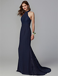 cheap -Mermaid / Trumpet High Neck Sweep / Brush Train Chiffon / Lace Bridesmaid Dress with Buttons / Lace