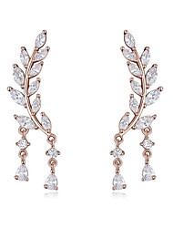 cheap -AAA Cubic Zirconia Earrings Copper S925 Sterling Silver For Women's Drops Elegant European Fashion Wedding Evening Party High Quality Leaf 1 Pair