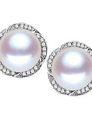 cheap -Freshwater Pearl Earrings Pearl S925 Sterling Silver For Women's Round Glam Elegant Fashion Party Event / Party High Quality Flower Flower Series 1 Pair