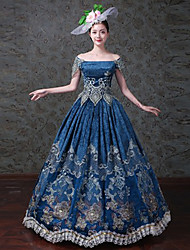 cheap -Queen Princess Rococo Baroque Victorian 18th Century Dress Masquerade Costume Women's Costume Blue Vintage Cosplay Party Prom Short Sleeve Floor Length Ball Gown