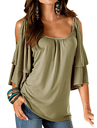 cheap -Women's Going out Weekend Loose T-shirt - Solid Colored Black / Summer / Ruffle / Cut Out / Sexy