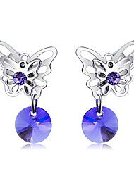 cheap -Women's Purple Crystal Clip on Earring Hollow Out Butterfly Classic Fashion Elegant Austria Crystal Earrings Jewelry Silver For Daily Formal 2pcs