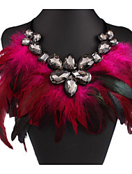 cheap -Women's Clear Cubic Zirconia Statement Necklace Vintage Style Tennis Chain Feather Statement Feather Imitation Diamond Black Purple Blue Rainbow Rose Red 102 cm Necklace Jewelry 1pc For Party
