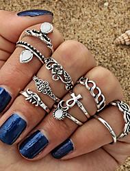 cheap -Women Ring Set Cubic Zirconia Hollow Out Gold Silver Alloy Elephant Flower Ladies Geometric Basic 10pcs 7 / Women's