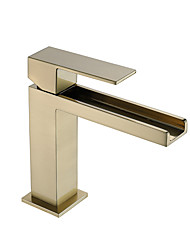 cheap -Bathroom Sink Faucet - Waterfall / New Design Brushed Deck Mounted Single Handle One HoleBath Taps