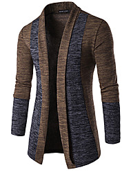 cheap -Men's Basic Patchwork Color Block Cardigan Long Sleeve Butterfly Sleeves Slim Regular Sweater Cardigans Spring Fall Winter Camel Dark Gray Gray