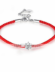 cheap -Women's Loom Bracelet For Daily Festival Lucky Wish Bracelet Braided red rope chain Metal Alloy Rhinestone Plated Silver Red Black 1pc