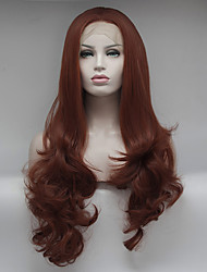 cheap -Synthetic Lace Front Wig Curly Free Part Lace Front Wig Long Orange Synthetic Hair 18-26 inch Women's Adjustable Lace Heat Resistant Red