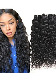 cheap -3 Bundles Indian Hair Water Wave Human Hair Wig Accessories Natural Color Hair Weaves / Hair Bulk Hair Care 8-28 inch Natural Color Human Hair Weaves Soft Silky Smooth Human Hair Extensions