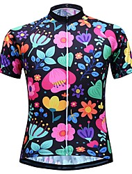 cheap -JESOCYCLING Women's Short Sleeve Cycling Jersey Black White Floral Botanical Bike Top Mountain Bike MTB Road Bike Cycling Breathable Moisture Wicking Quick Dry Sports 100% Polyester Clothing Apparel